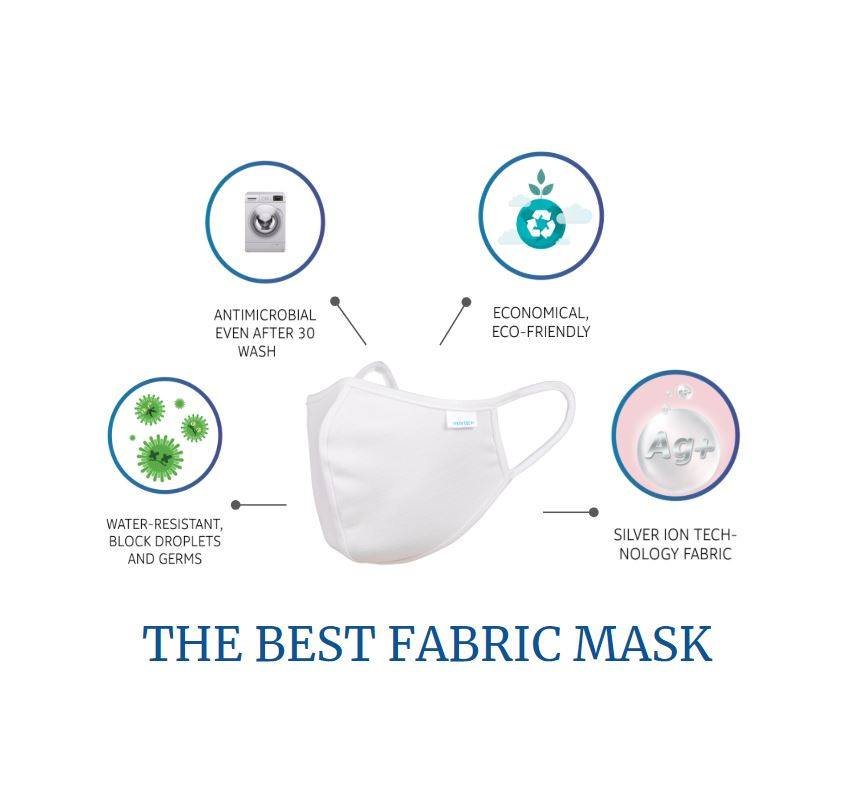 Nano Silver Reusable Washable Face Mask Cloth Cotton Fabric Covering (ADULT) V1