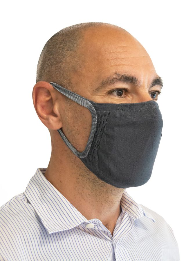 FMI Washable Reusable Face Mask / Covering Adult DARK GREY Antibacterial