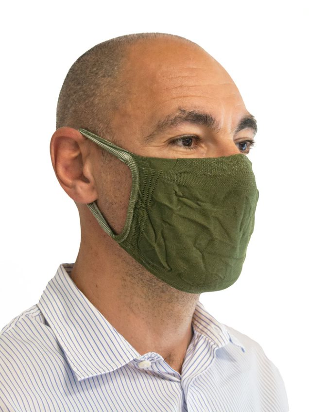 FMI Washable Reusable Face Mask / Covering Adult DARK GREEN Antibacterial