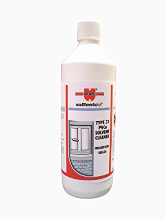 Wurth UPVC Solvent TYPE 32 Adhesive Remover Cleaner 1 Litre Bottle Type 32